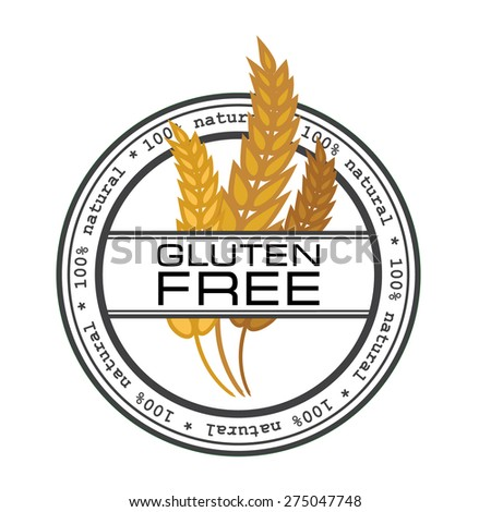 Gluten free vector stamp emblem logo element / Wheat logo - stock vector