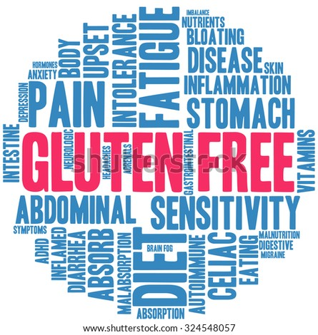 Gluten Free word cloud on a white background.