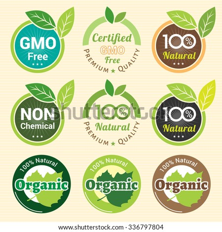 GMO Free Non GMO and organic guarantee tag label emblem sticker for plant fruits and vegetable - stock vector