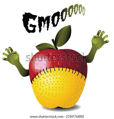 GMO zombie apple lemon monster EPS 10 vector - stock vector