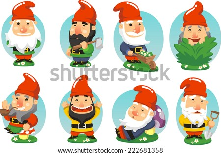 Gnome Garden Set  vector illustration cartoon - stock vector