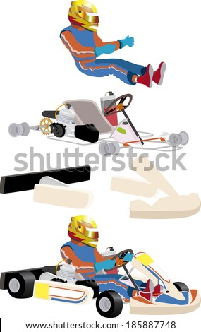 go cart carting racing race parts - stock vector