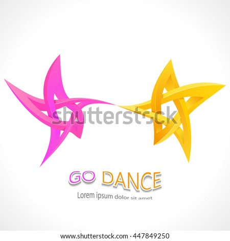 Go dance. Dancing impossible star 3D for Your project. Icon or logo. Vector Illustration - stock vector