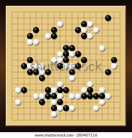 Go Game Board With A Typical Course Of