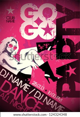Go-go party design template with fashion girl and place for text. Eps10. - stock vector