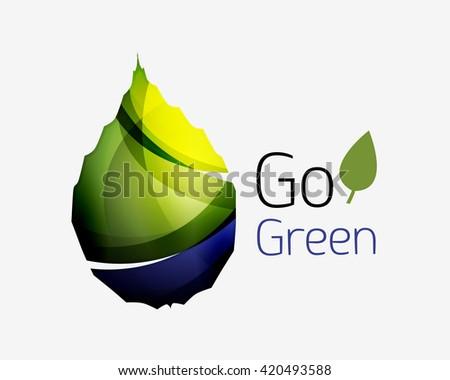 Go green abstract nature logo. Vector illustration - stock vector