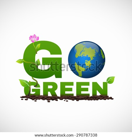 Go green banner logo design is have earth leaf and flower tree - stock vector