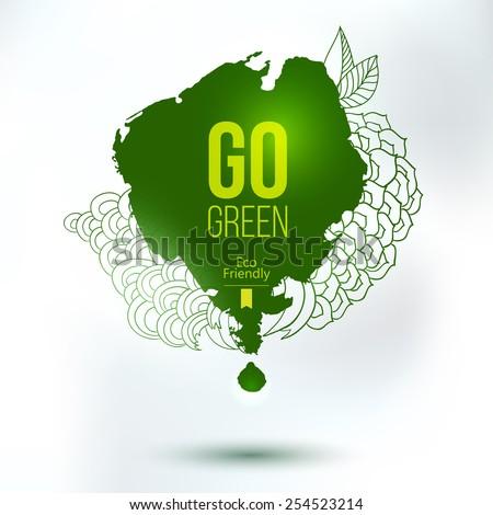 Go green blob. Vector green eco friendly hand drawing logo. Natural product label. Food design element. - stock vector