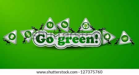 Go green card - ecology concept - stock vector