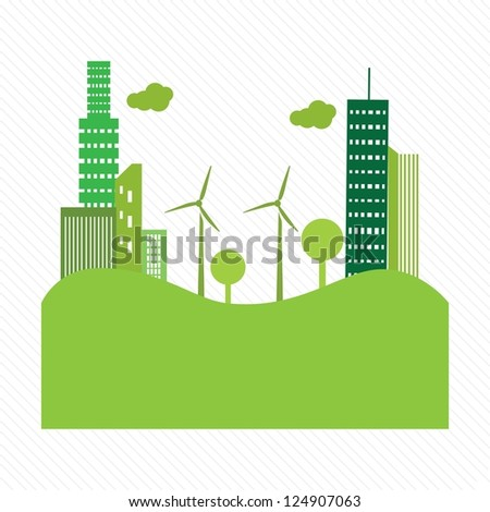 Go green city. with buildings and windmills on white background. Vector illustration