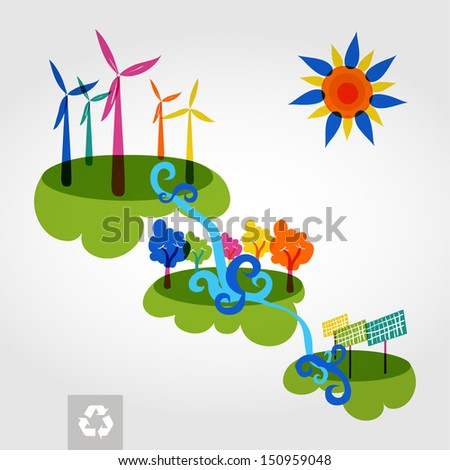 Go green colorful city wind turbines, trees and solar panels. Industry sustainable development with environmental conservation background illustration. Vector file layered for easy editing. - stock vector