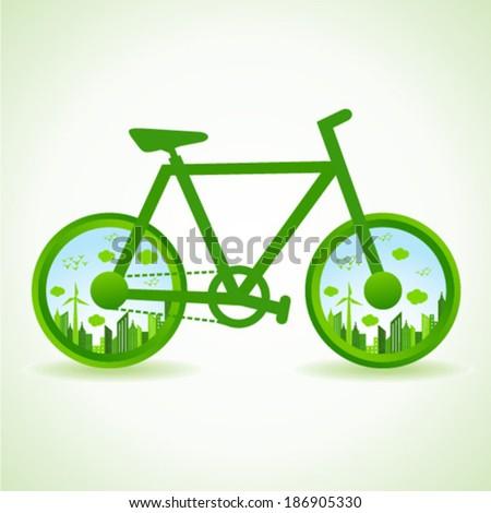 Go green concept - Eco cityscape in bicycle  stock vector  - stock vector