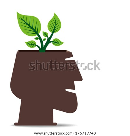 go green concept, plant in human head concept vector - stock vector