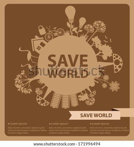 Go green concept. Save world vector Illustration. - stock vector
