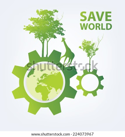 Go green concept. Save world vector Illustration.