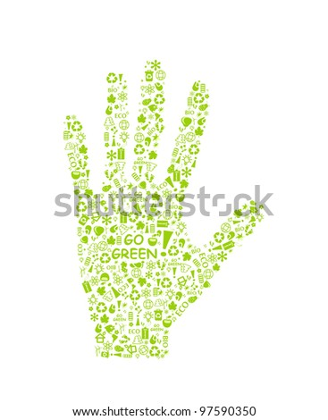 go green eco pattern hand palm on white backdrop - bulb, leaf, globe, drop, apple, house, trash. Ecology concept. - stock vector