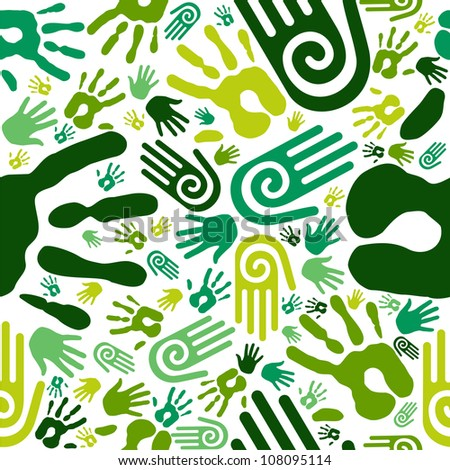 Go green human hands icons seamless pattern background. Vector file layered for easy manipulation and custom coloring - stock vector