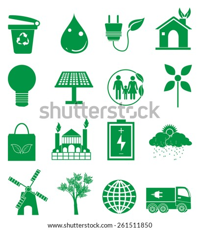 Go green icons set - stock vector