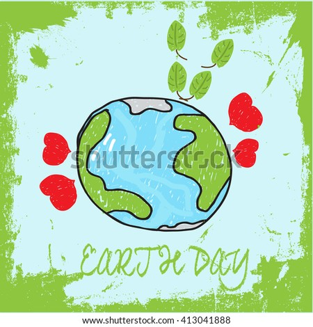 Go Green, illustration of mother earth globe and green leaves, background for World Environment Day - stock vector