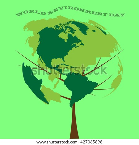 Go Green, illustration of mother earth globe and green leaves, background for World Environment Day. - stock vector