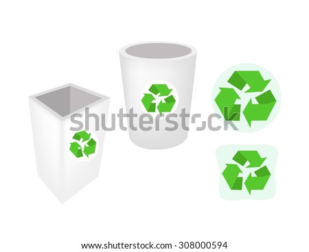 Go Green, Illustration of Recycle Bins or Garbage Cans with Recycle Icons for Save The Earth Concept. - stock vector