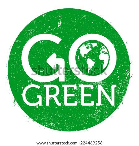 Go Green Logo Circle Grunge Vector Stock Vector 224469256 Shutterstock