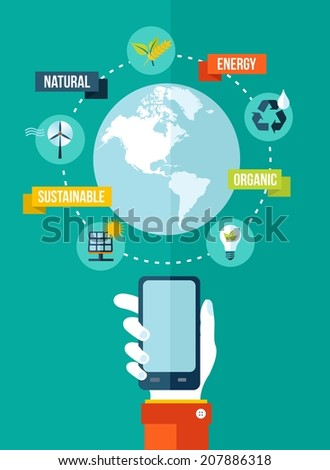 Go green Mobile app Technology and ecology concept illustration. EPS10 vector file organized in layers for easy editing. - stock vector