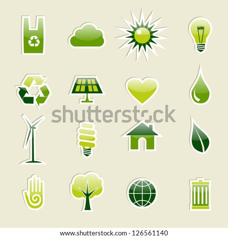 Go Green modern glossy icon set. Vector illustration cleanly built grouped and ordered in layers for easy editing. - stock vector