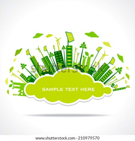 go green or save earth with cloud shape sticker to write your text  concept vector  - stock vector