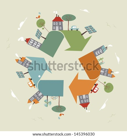 Go green recycle trendy symbol world. Vector illustration layered for easy manipulation and custom coloring. - stock vector