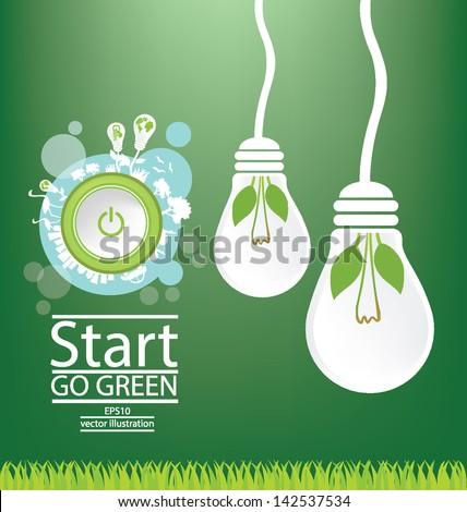 Go green. Save world. Start button. Vector illustration. - stock vector