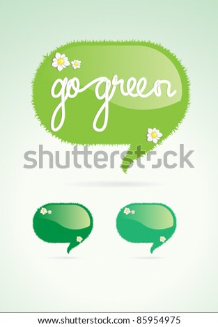 Go green speech bubble vector element