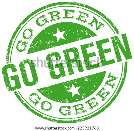 go green stamp - stock vector