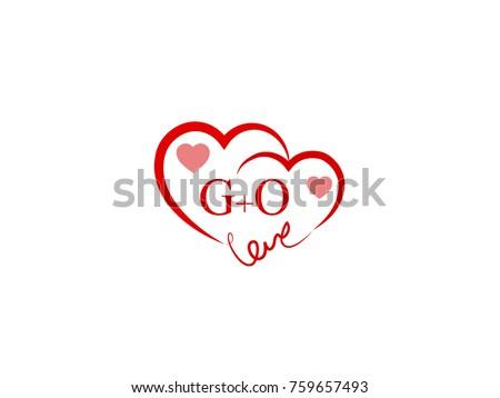 Go Initial Wedding Invitation Love Logo Stock Vector