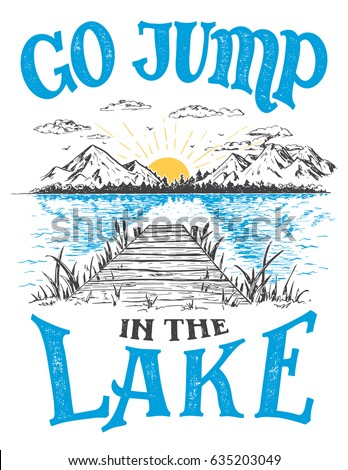 Go Jump In The Lake House Decor Sign Vintage Style