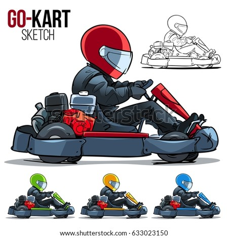 Cartoon Go Kart Racer Stock Vector Shutterstock