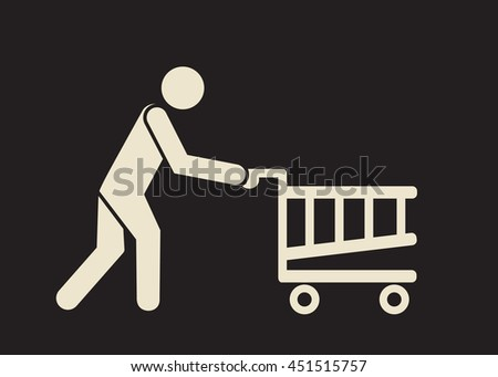go shopping icon: person with the trolley