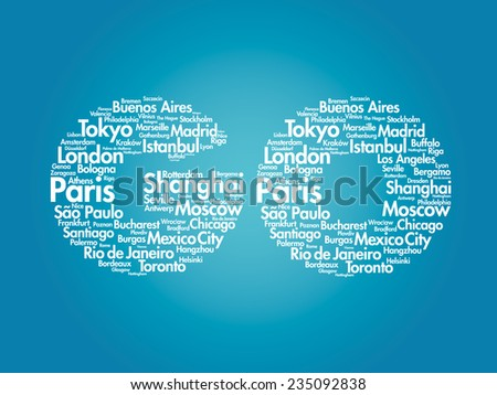 GO text travel concept made with words cities names, vector collage - stock vector