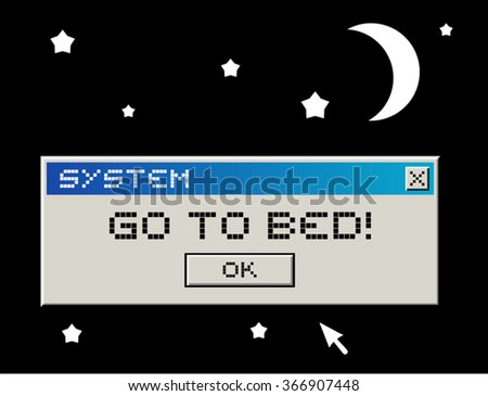 go to bed message - stock vector