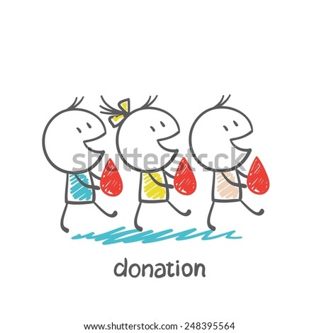 go to donate blood donors illustration - stock vector