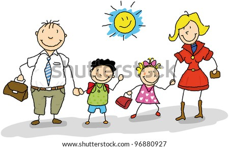 Go to school. It is the start of the school year, dad and mom take their children to the school. - stock vector