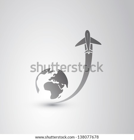 Go to sky - Airplane Icon - stock vector