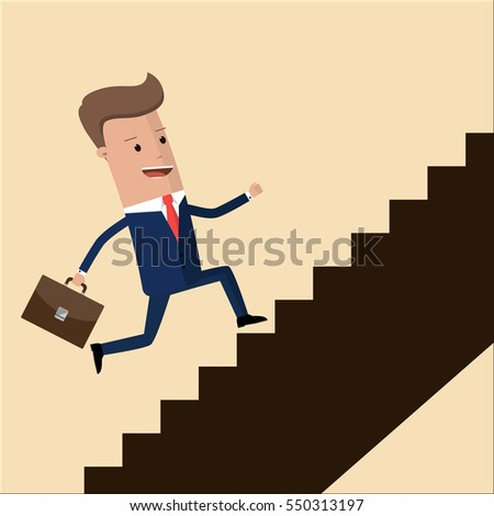 Go up concept, Career ladder, Businessman with suitcase climbing the stairs of success. Concept for successful business, professional growth, career achievements. Staircase to success.