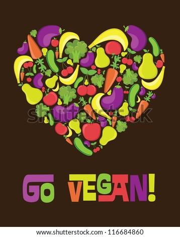 go vegan card design. vector illustration - stock vector