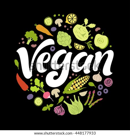 Go vegan vector lettering with hand drawn fruits and vegetables. Products elements, calligraphic food logo. Eating set for farm, market, cafe design, menu, recipes. Healthy organic fresh illustration