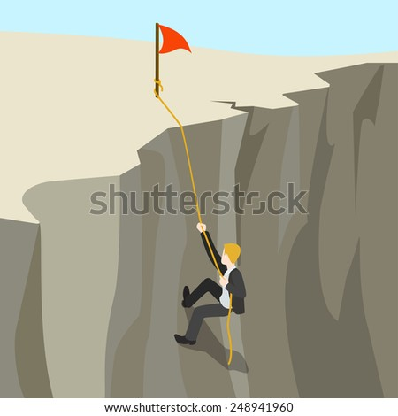 Goal achievement business concept flat 3d web isometric infographic vector. Businessman climbs on rope from abyss to the top new horizon. Creative people collection. - stock vector