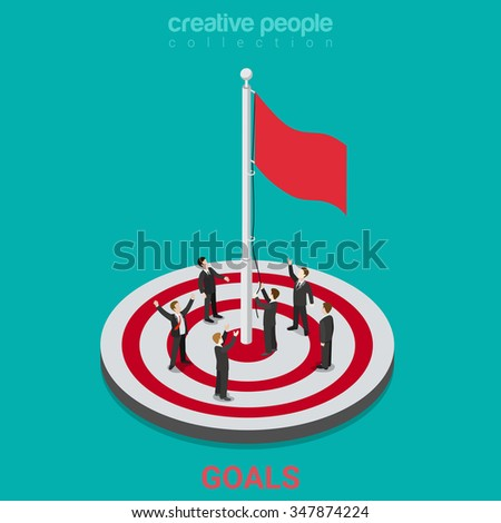 Goal achievement flag rising flat 3d isometry isometric business concept web vector illustration. Businessmen flagpole flagstaff target aim field. Creative people collection. - stock vector