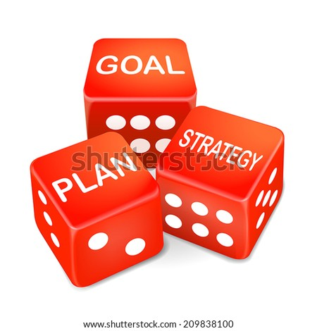 goal, plan and strategy words on three red dice over white background - stock vector