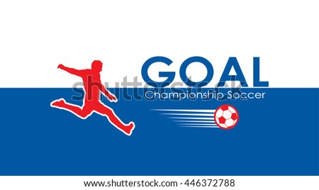 Goal. Soccer goal icon. Goal football icon. Champion Soccer Goal background. EURO 2016 Abstract soccer goal illustration in blue and red color. UEFA 2016 Football vector. For Art, Print, Web design.