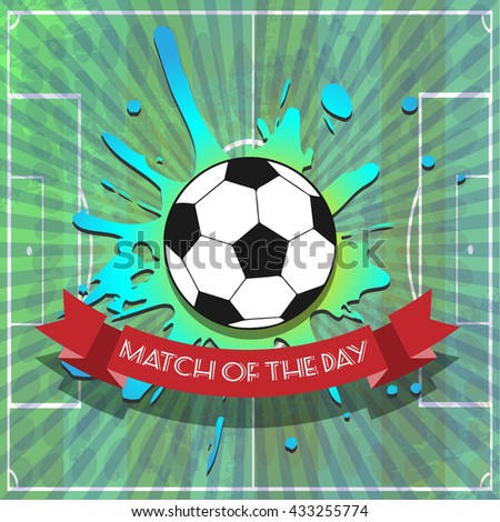 Goal Soccer Template Illustration. Match of the Day Sports Text Banner. One big Soccer ball on a playing field background. Digital background vector illustration. - stock vector